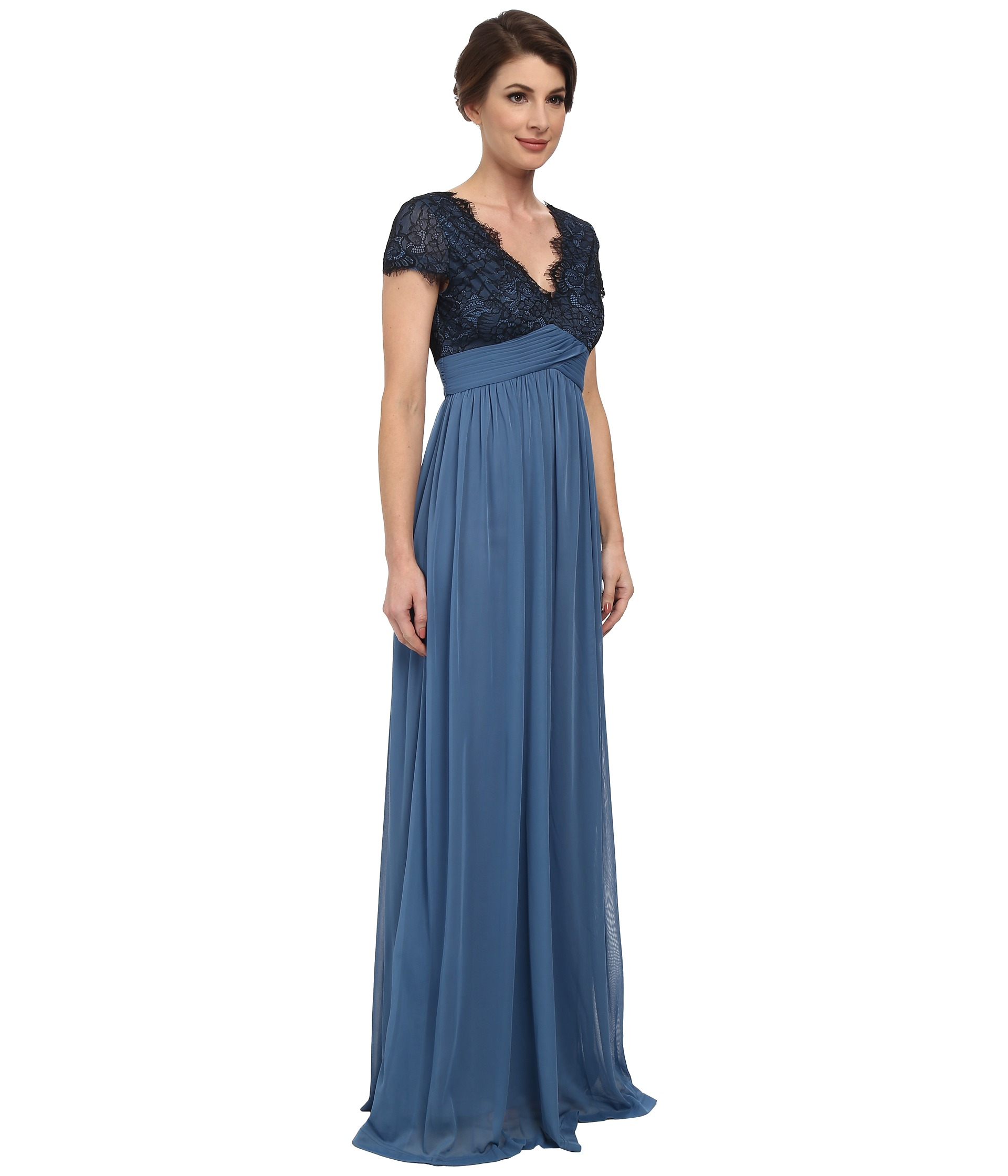 Lyst - Adrianna Papell Scalloped Lace Bodice W/ Full Skirt in Blue