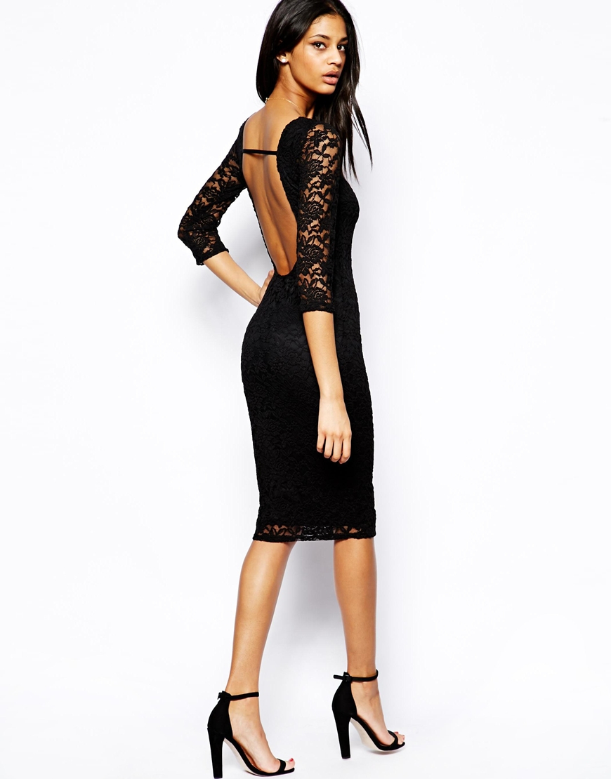 Asos Low Back Lace Midi Bodyconscious Dress in Black - Lyst