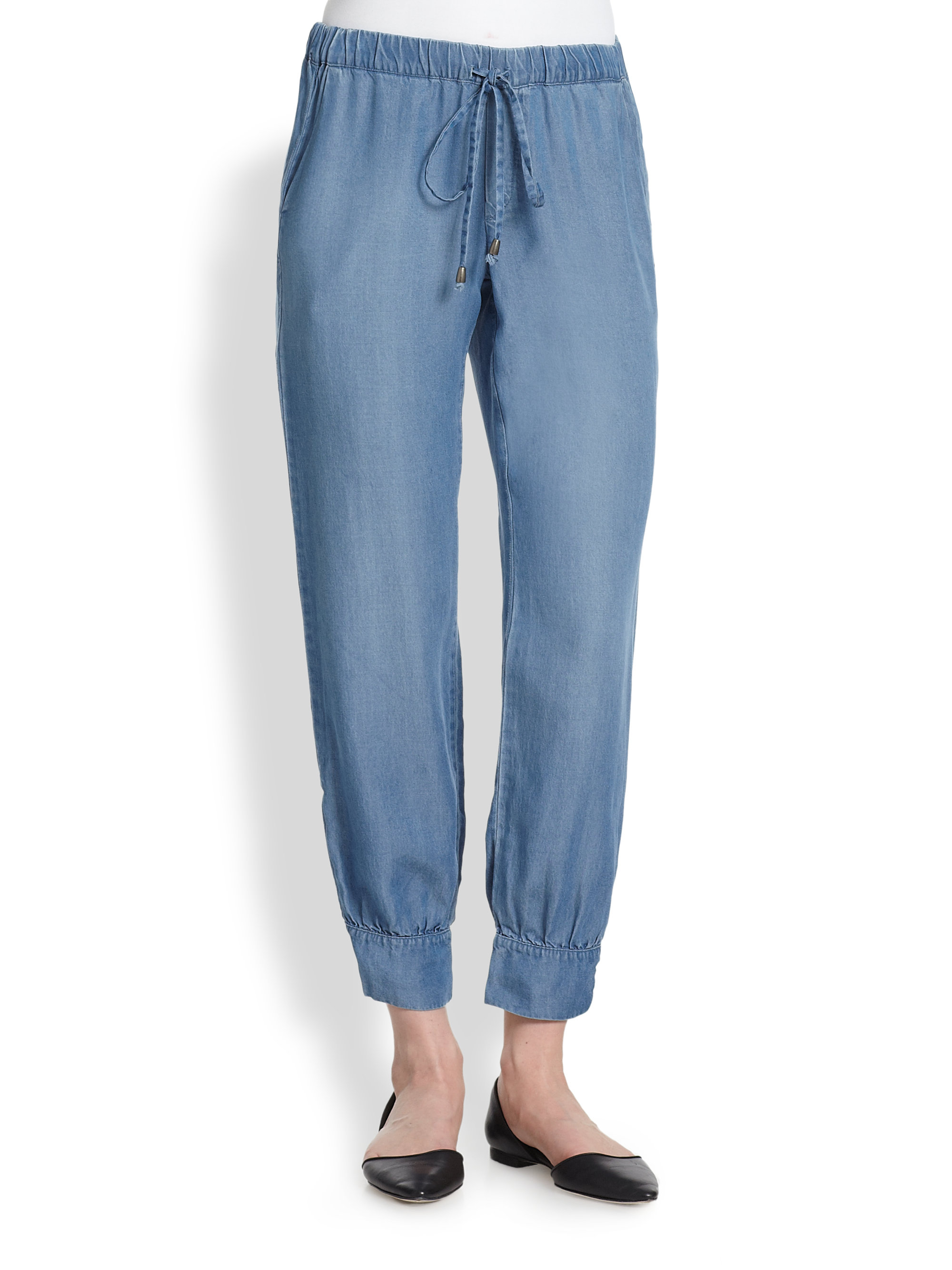 Splendid chambray track pants in blue chambray lyst for Chambray jeans