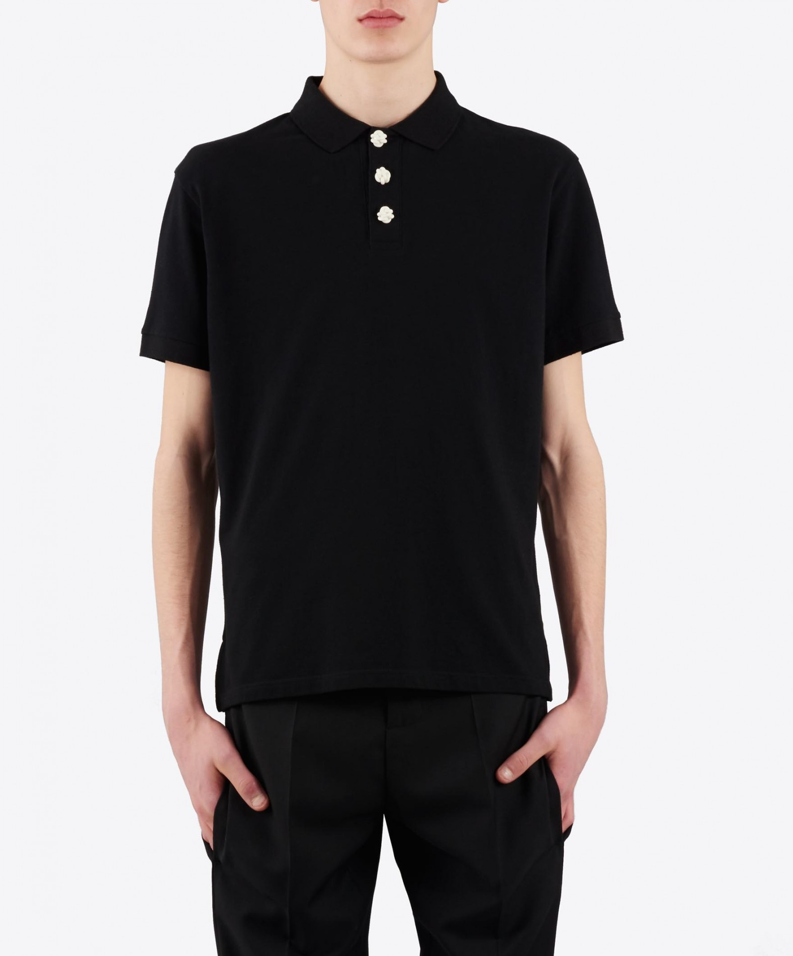 Lyst j w anderson logo embroidered cotton piqu polo for No button polo shirts