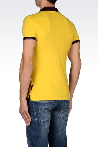 Armani jeans stretch cotton polo shirt in yellow for men for Stretch polo shirt mens