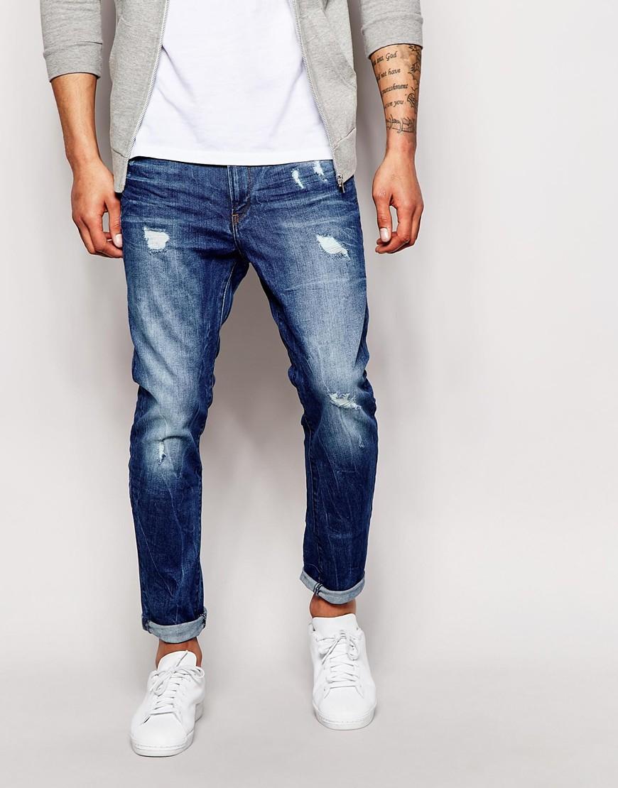 lyst g star raw jeans type c 3d super slim light aged destroy in blue for men. Black Bedroom Furniture Sets. Home Design Ideas