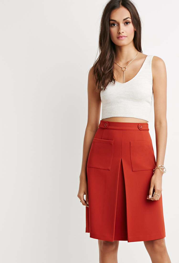 forever 21 inverted front pleat a line skirt in brown lyst