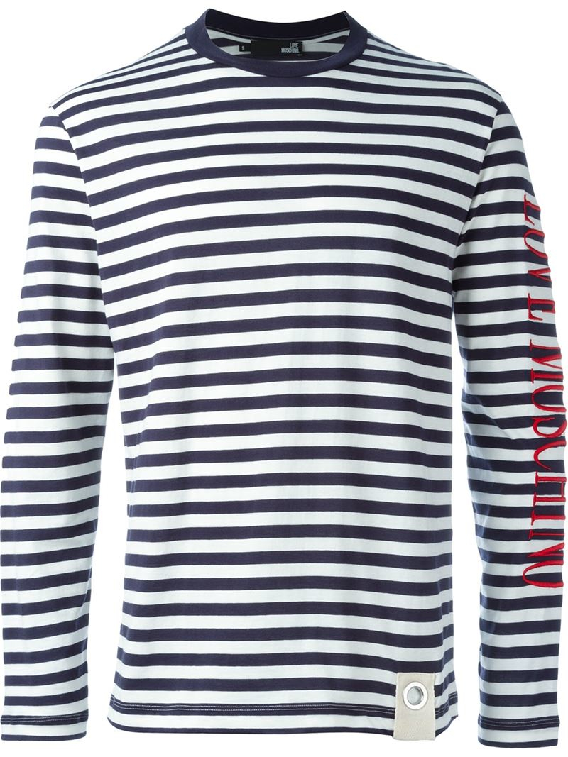 Love moschino Longsleeved Striped T-shirt in Blue for Men ...
