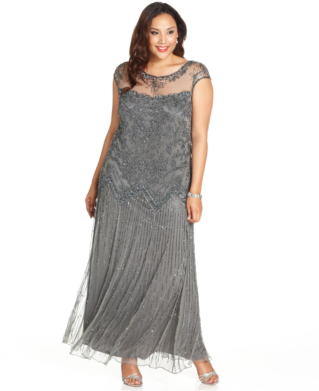 Lyst - Pisarro Nights Plus Size Illusion Embellished Gown in Gray