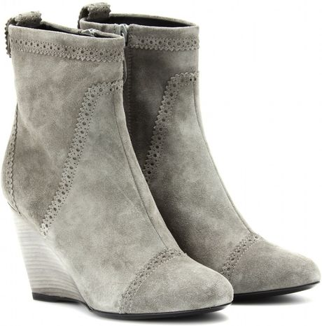 Balenciaga Suede Wedge Brogue Ankle Boots In Gray Gris