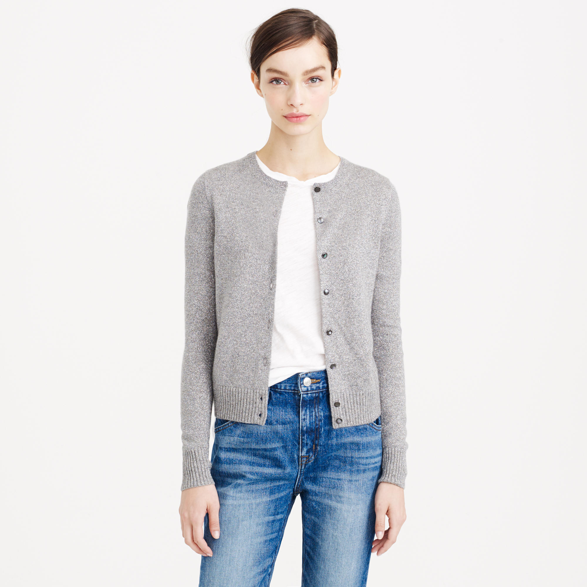J.crew Collection Cashmere Sparkle Cardigan Sweater in Gray | Lyst