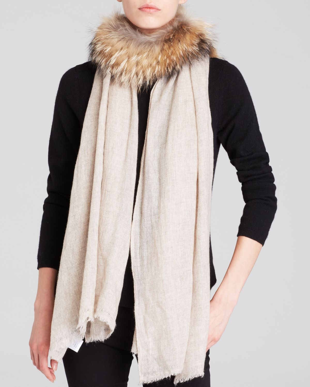 gaynor fur trimmed stole in natural lyst. Black Bedroom Furniture Sets. Home Design Ideas