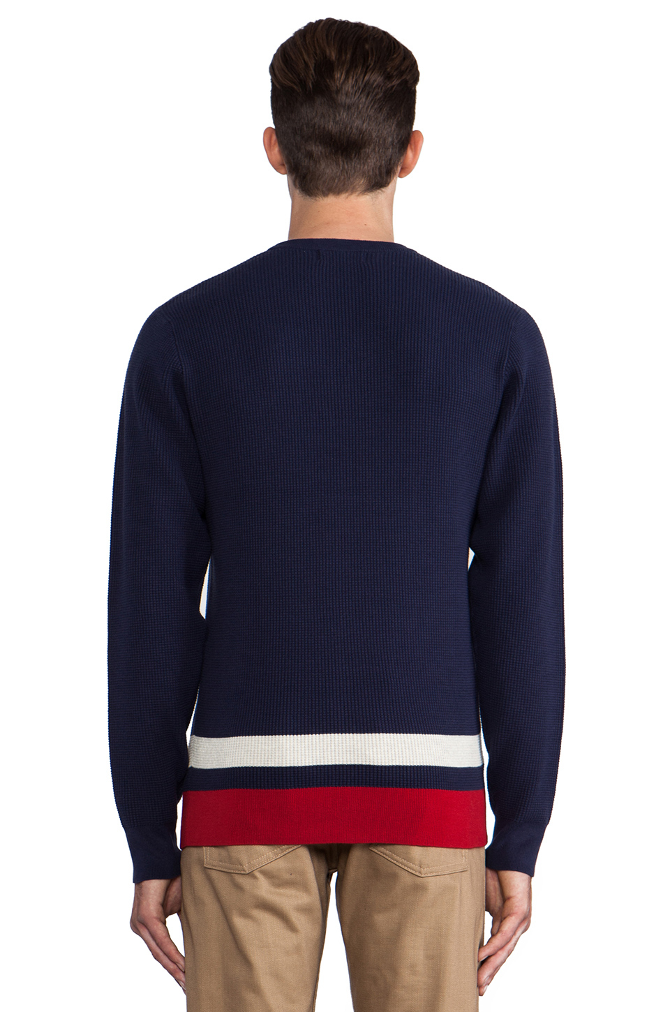 fred perry pullover sweater in navy in blue for men lyst. Black Bedroom Furniture Sets. Home Design Ideas