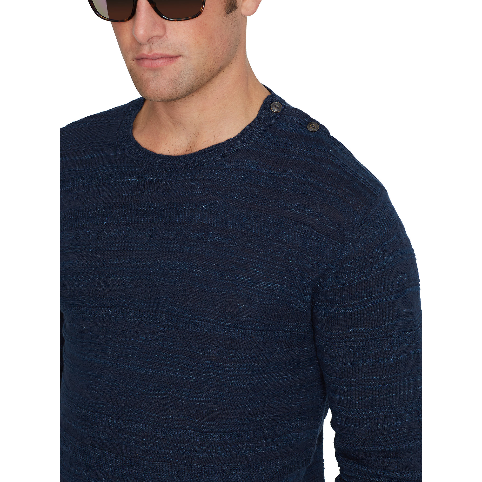 Polo ralph lauren Textured Linen-cotton Sweater in Blue for Men | Lyst