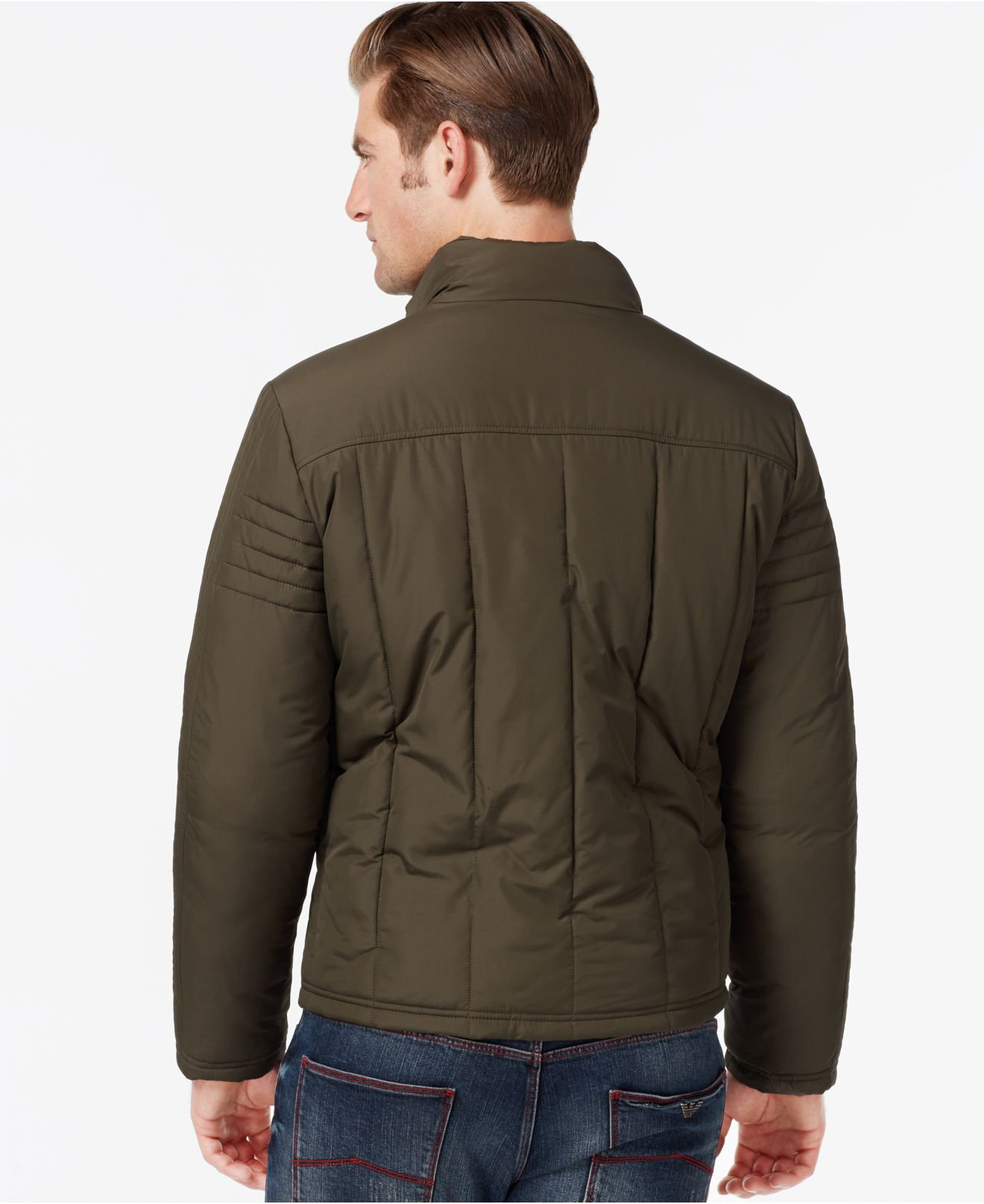 Kenneth Cole Quilted Moto Style Jacket In Green For Men Lyst