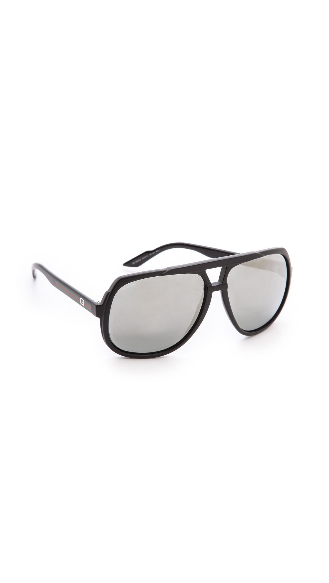 oversized black aviators  Gucci Mirrored Oversized Aviator Sunglasses - Matte Black/Black ...