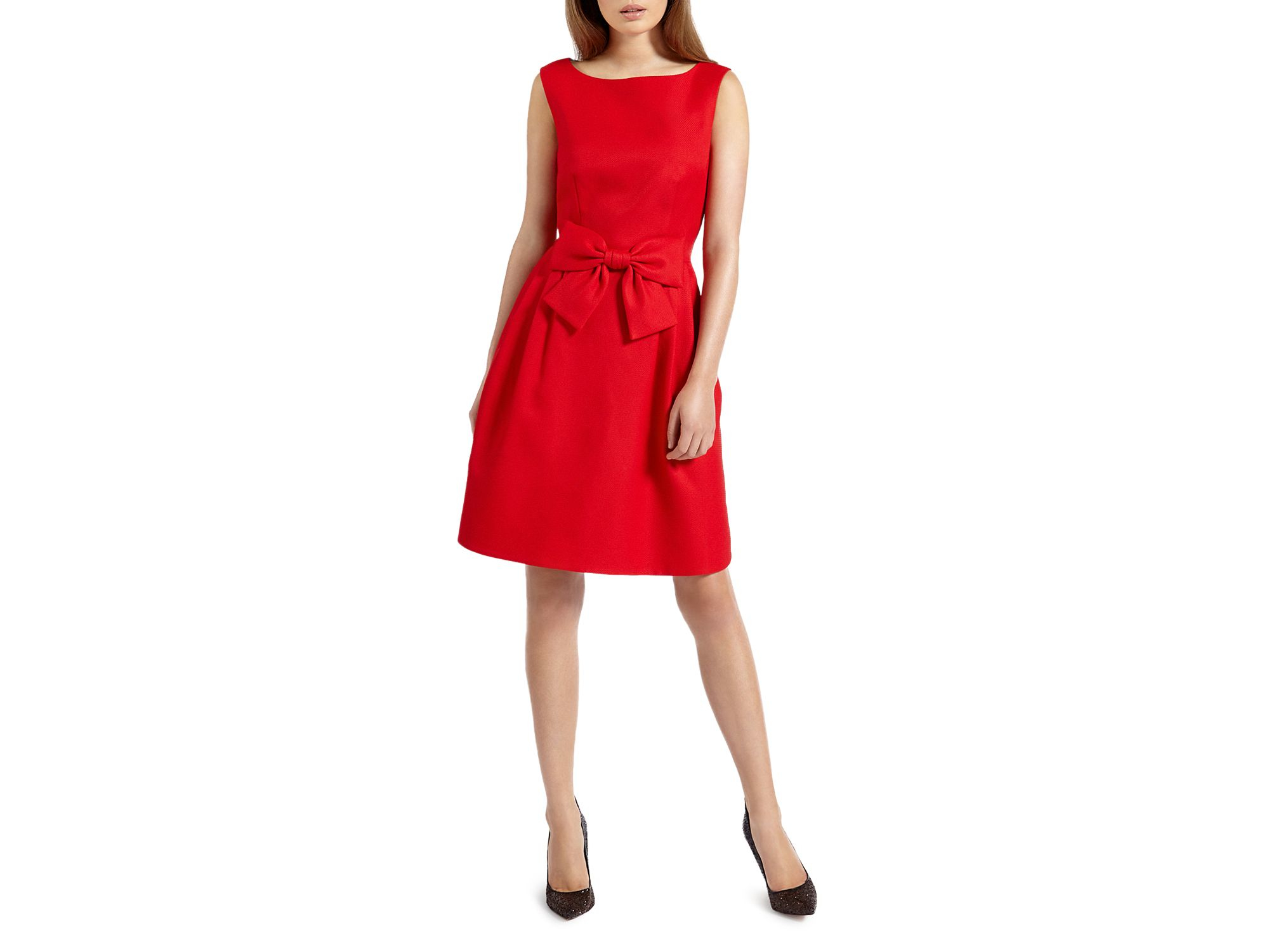 Ted baker Nuhad Bow Dress in Red | Lyst