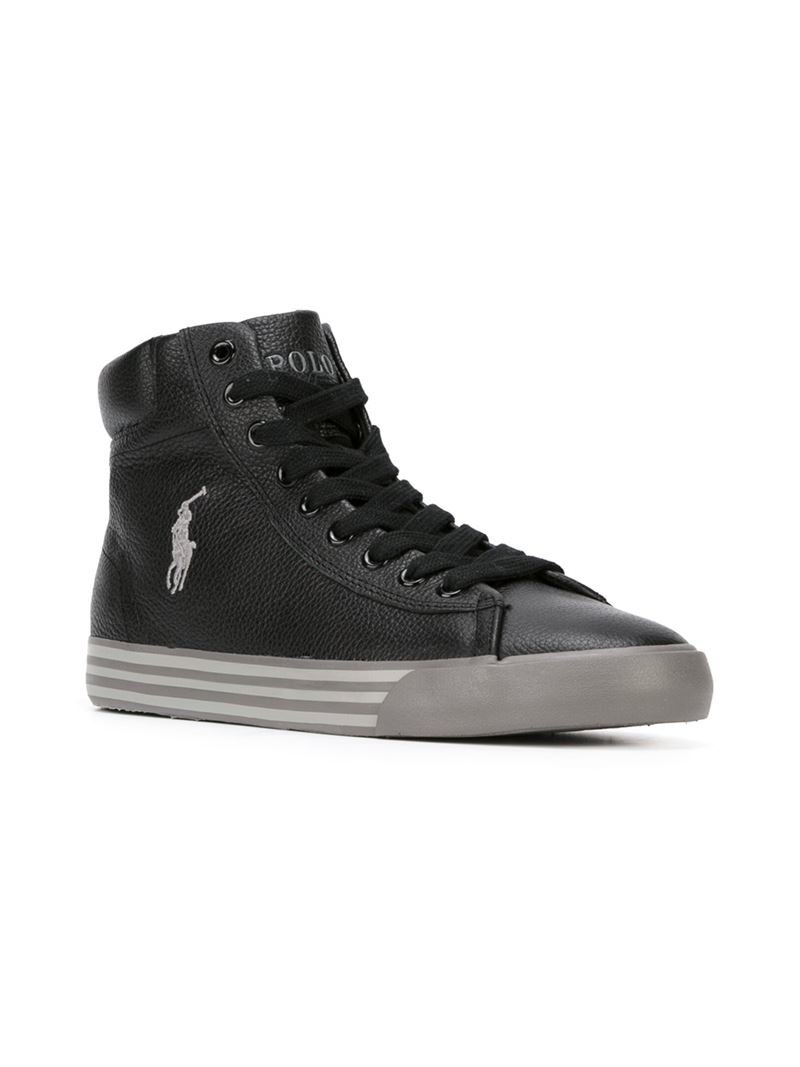 Lyst Polo Ralph Lauren Logo Hi Top Sneakers In Black For Men
