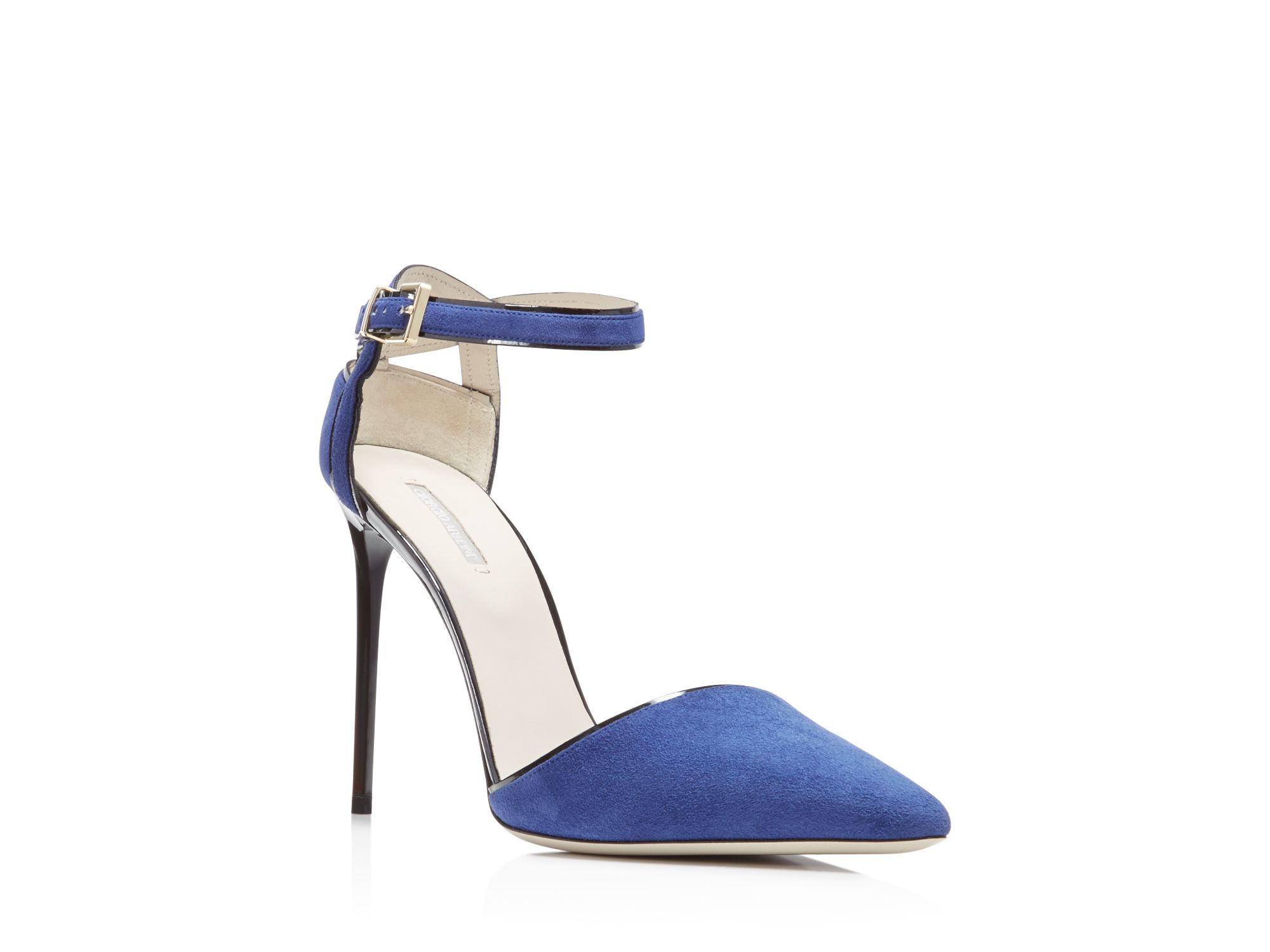 Giorgio armani Piped D'orsay Ankle Strap Pointed Pumps in Blue | Lyst