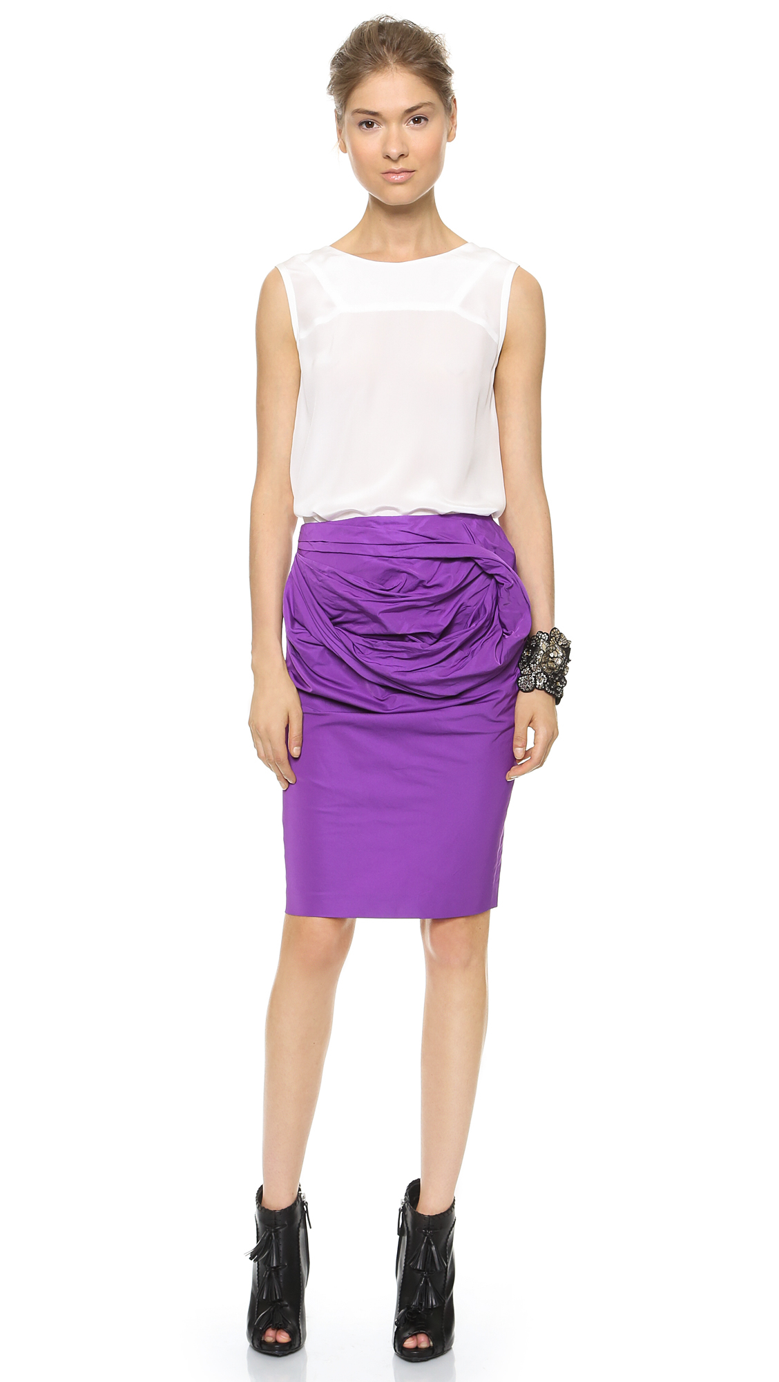 Vera wang collection Pencil Skirt With Obi Detail - Fuchsia in ...
