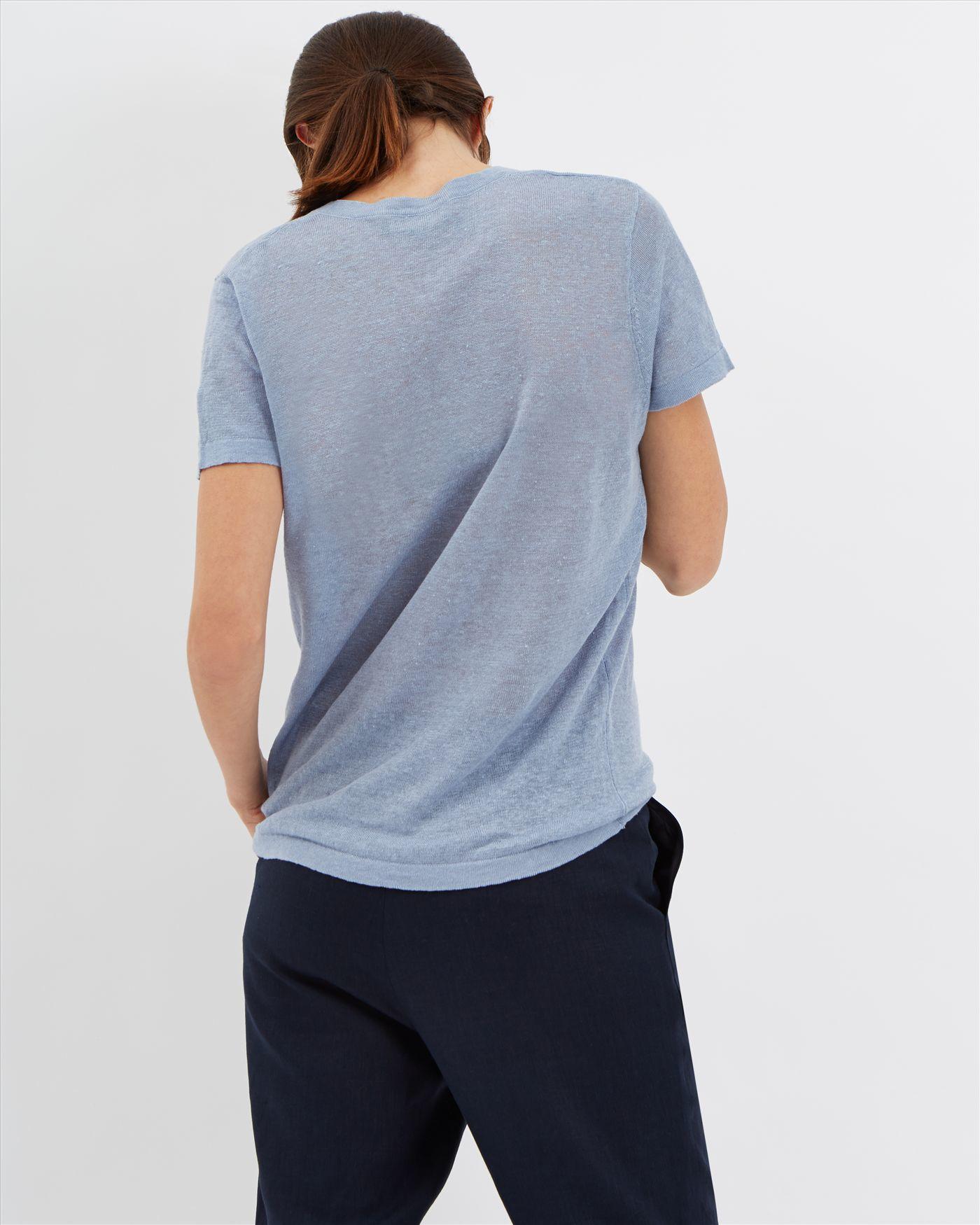 Lyst jaeger linen short sleeved t shirt in blue for Short sleeve linen shirt
