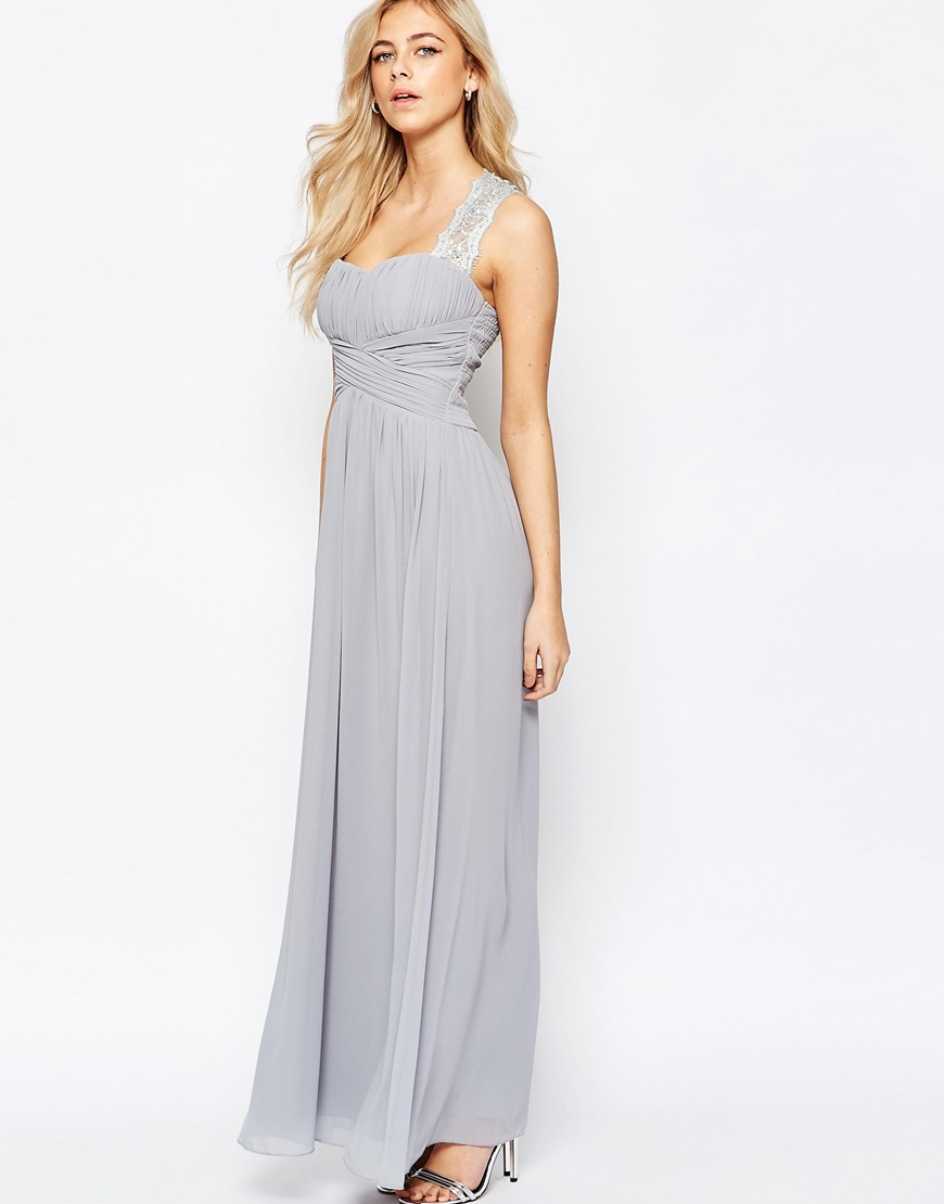 9c310674fd7 Lyst - Little Mistress Ruched Bodice Maxi Dress With Lace Sleeves in ...