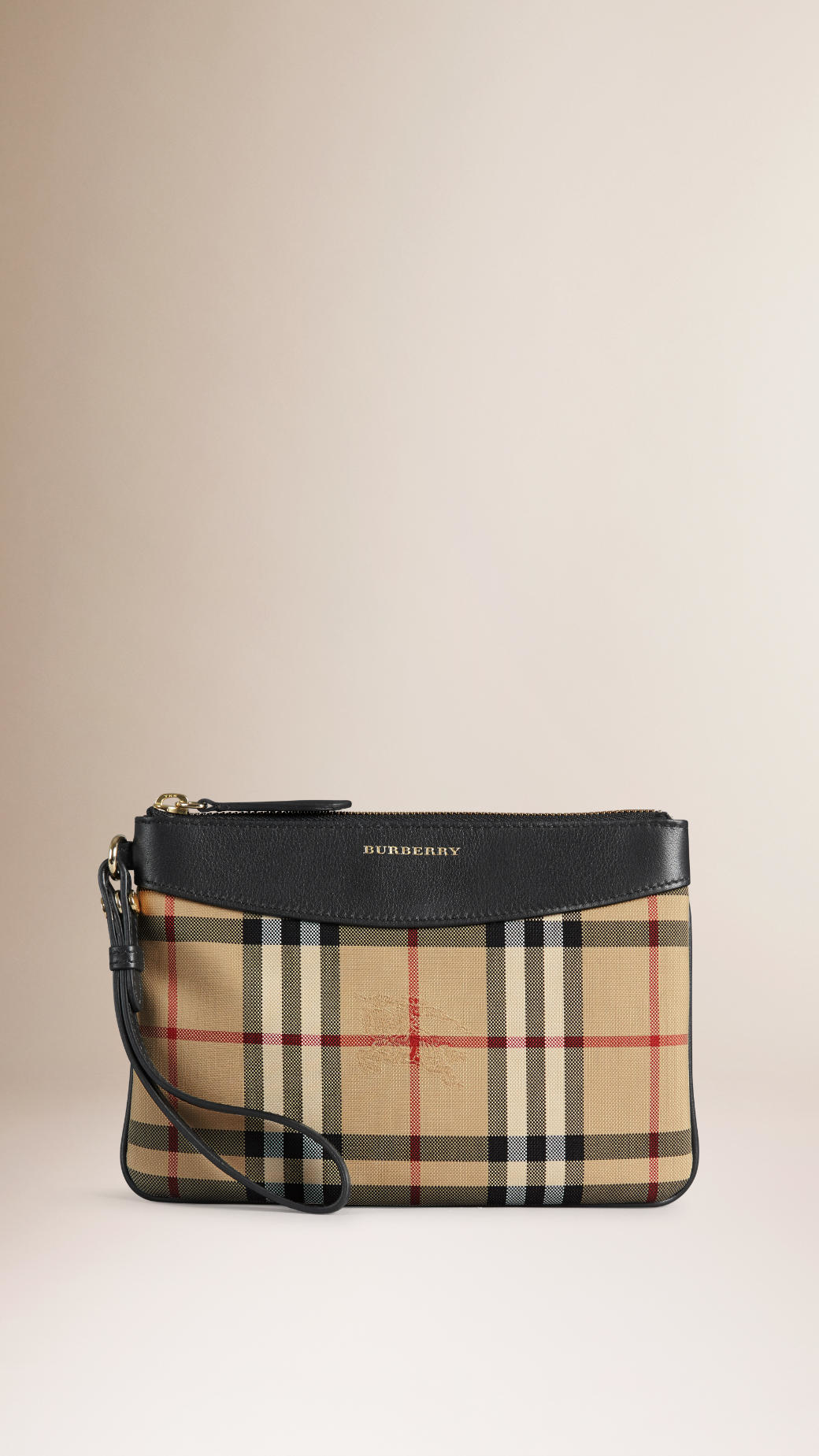 03a455d1404 Lyst - Burberry Horseferry Check And Leather Pouch in Black