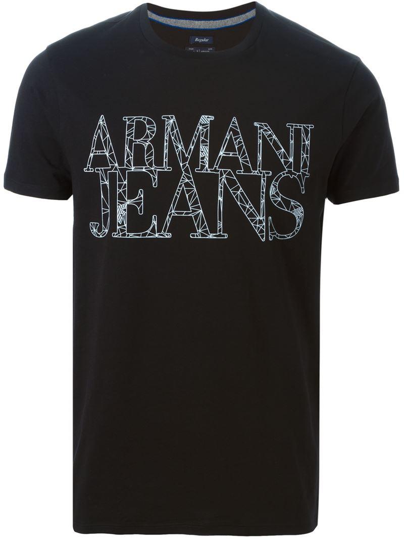 armani jeans logo print t shirt in black for men lyst. Black Bedroom Furniture Sets. Home Design Ideas