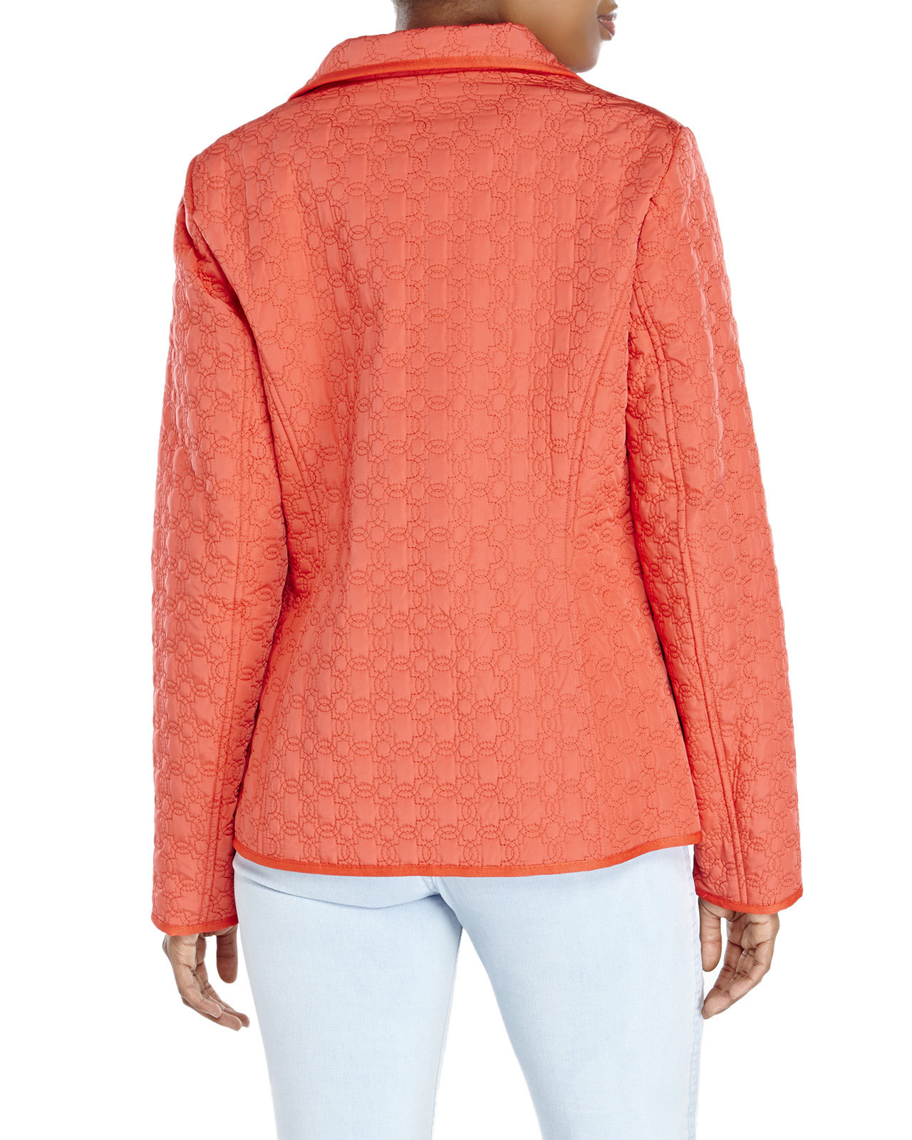 Ivanka trump Quilted Zip Front Jacket in Pink (Coral) | Lyst