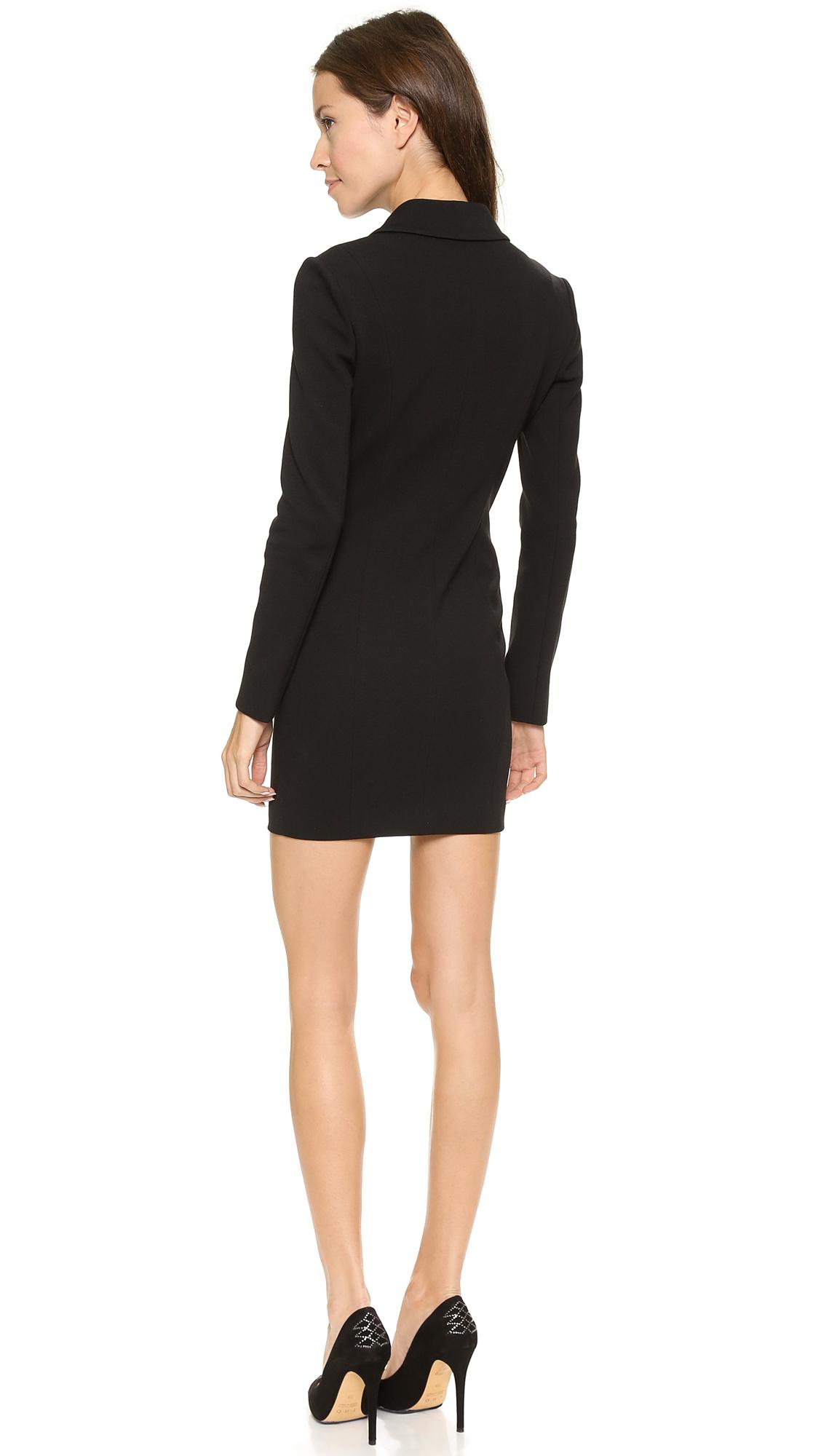 Balmain Zip Up Blazer Dress Black In Black Lyst