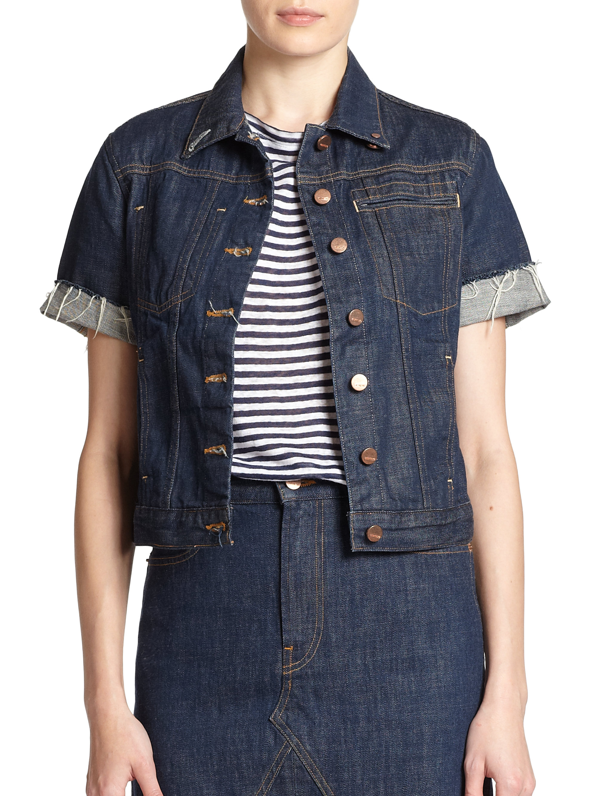 Genetic denim Blondie Short-Sleeve Denim Jacket in Blue | Lyst