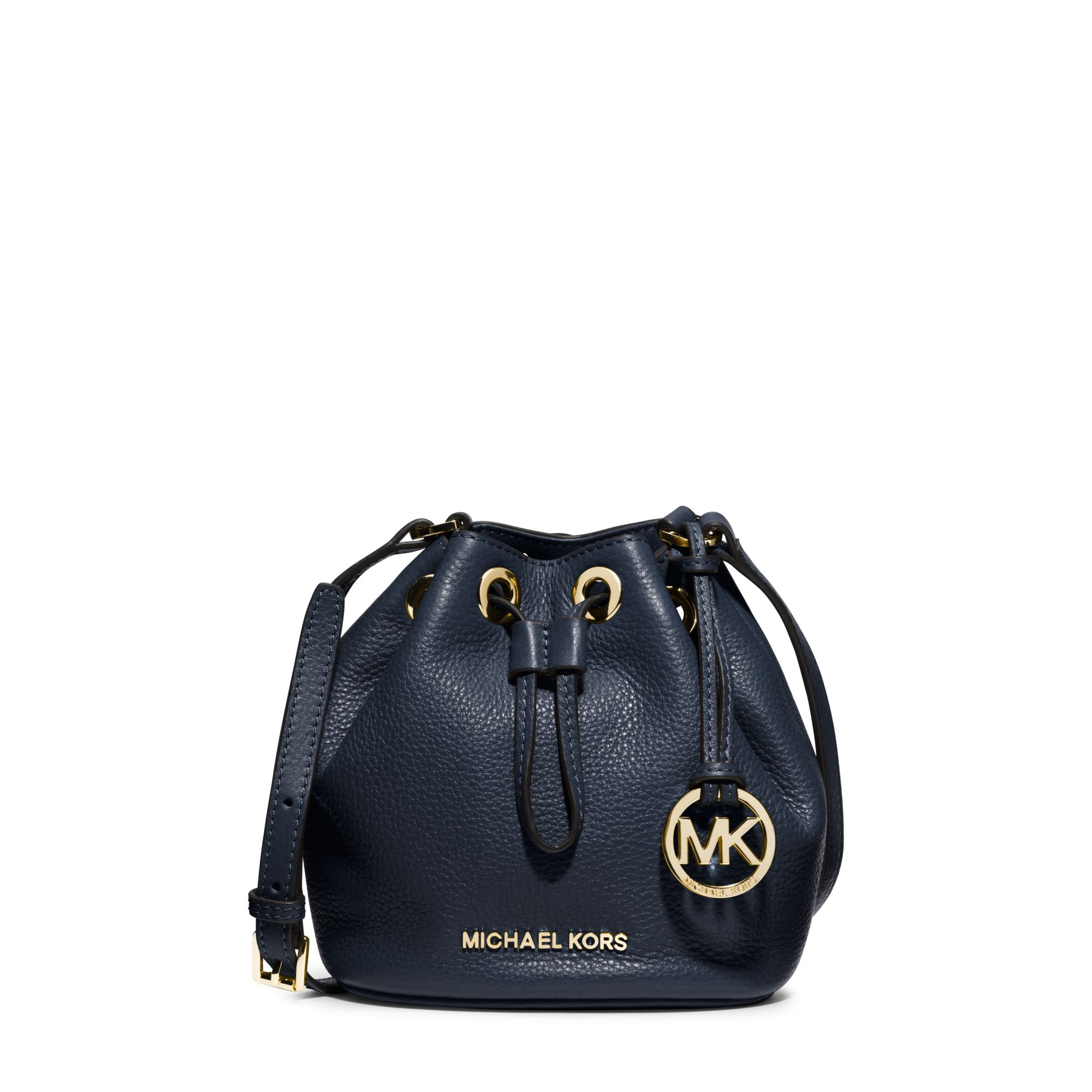 Michael kors Jules Leather Drawstring Crossbody in Blue | Lyst