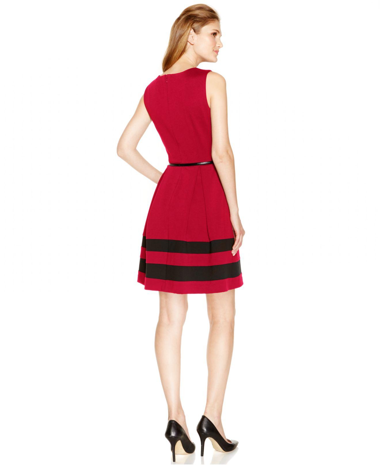 calvin klein sleeveless belted stripe dress in lyst