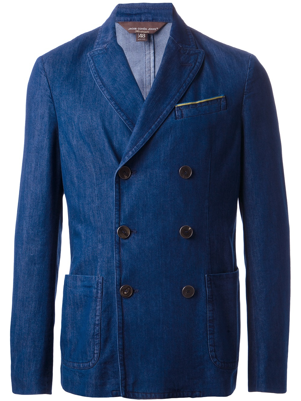 Blazers For Men Pinterest: Jacob Cohen Double Breasted Denim Blazer In Blue