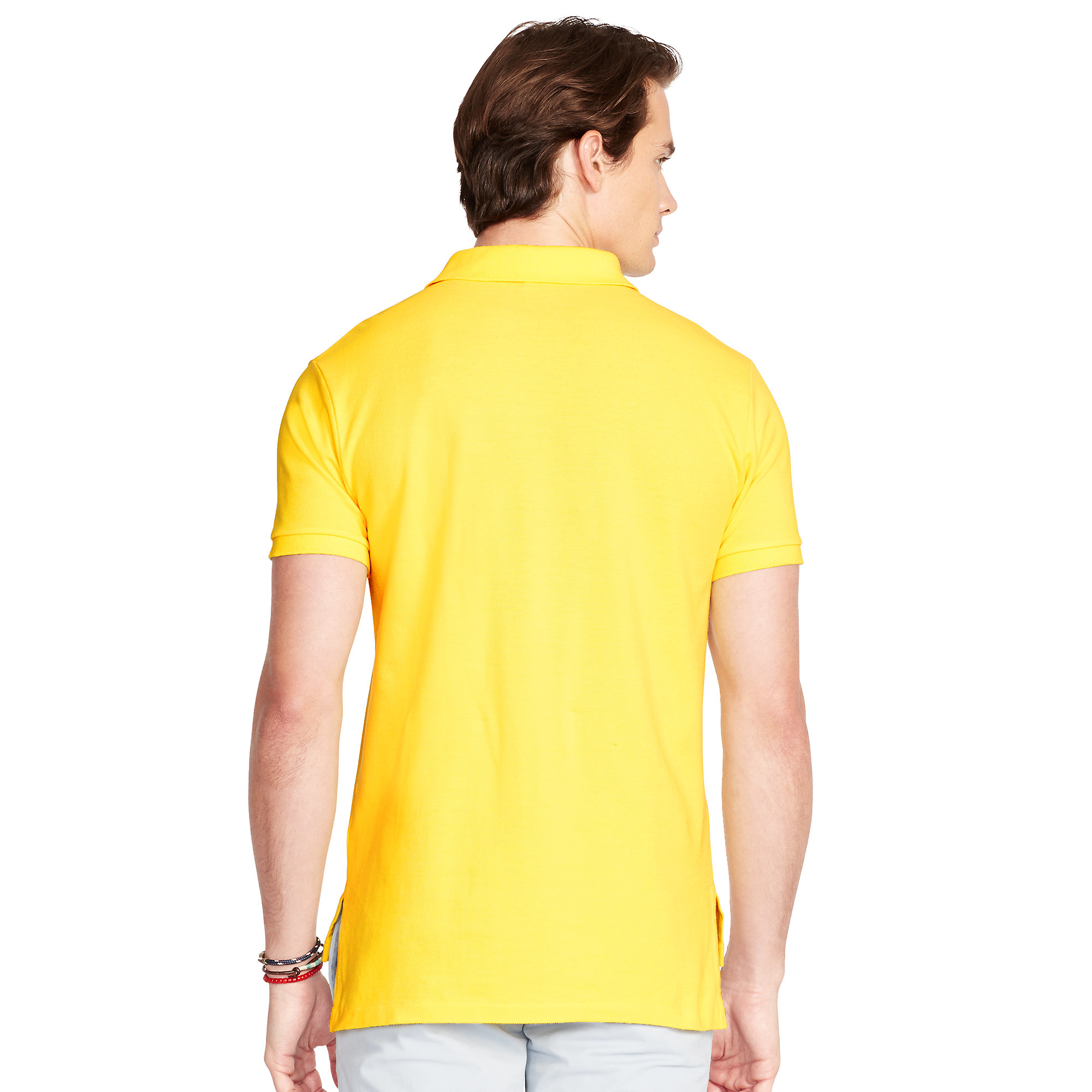 88d42464f Polo ralph lauren Slim-fit Mesh Polo Shirt in Yellow for Men | Lyst