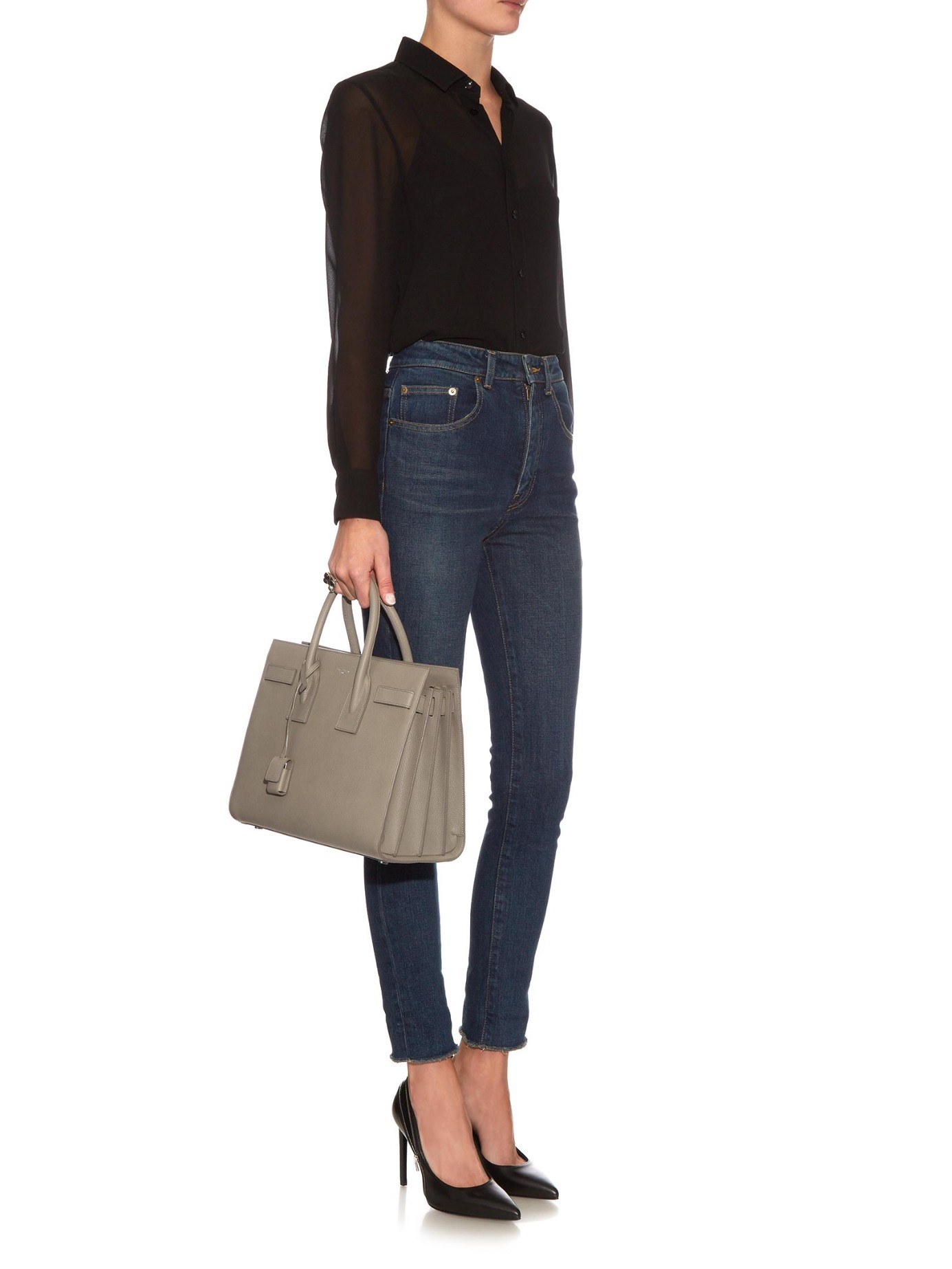 a31b3a04b7f5 Saint Laurent Sac De Jour Small Grained-leather Tote in Gray - Lyst