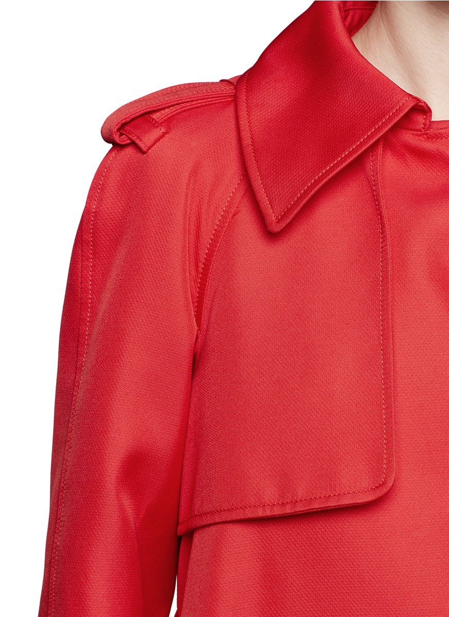 Lyst Lanvin Techno Duchesse Flare Trench Coat In Red