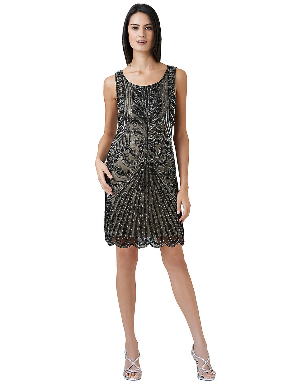 papell beaded shift dress in black black