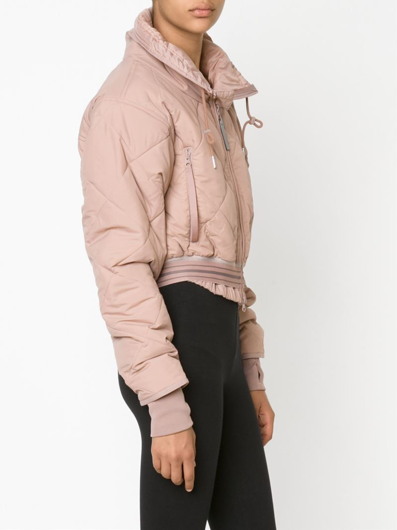 Adidas By Stella Mccartney Cropped Padded Jacket In Pink