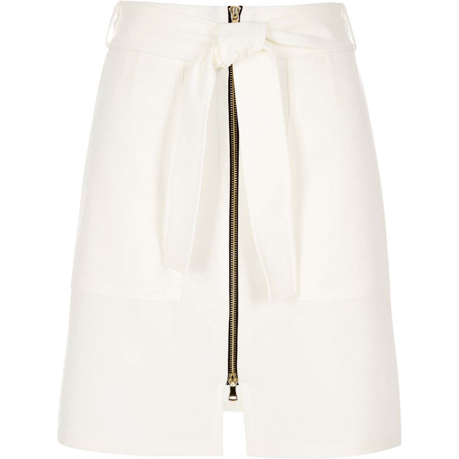 River island Cream Belted Zip-up A-line Skirt in White | Lyst