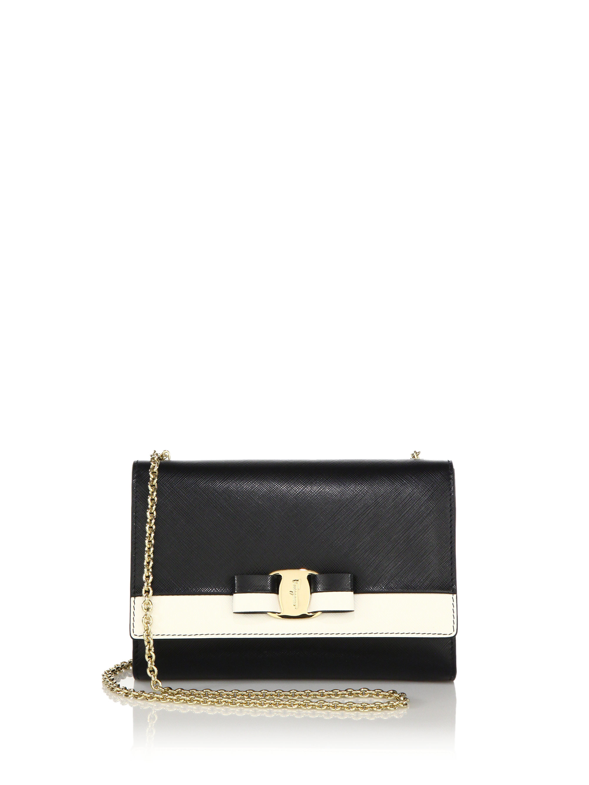 Lyst - Ferragamo Miss Vara Mini Two-tone Saffiano Leather Chain ... b4d1654616
