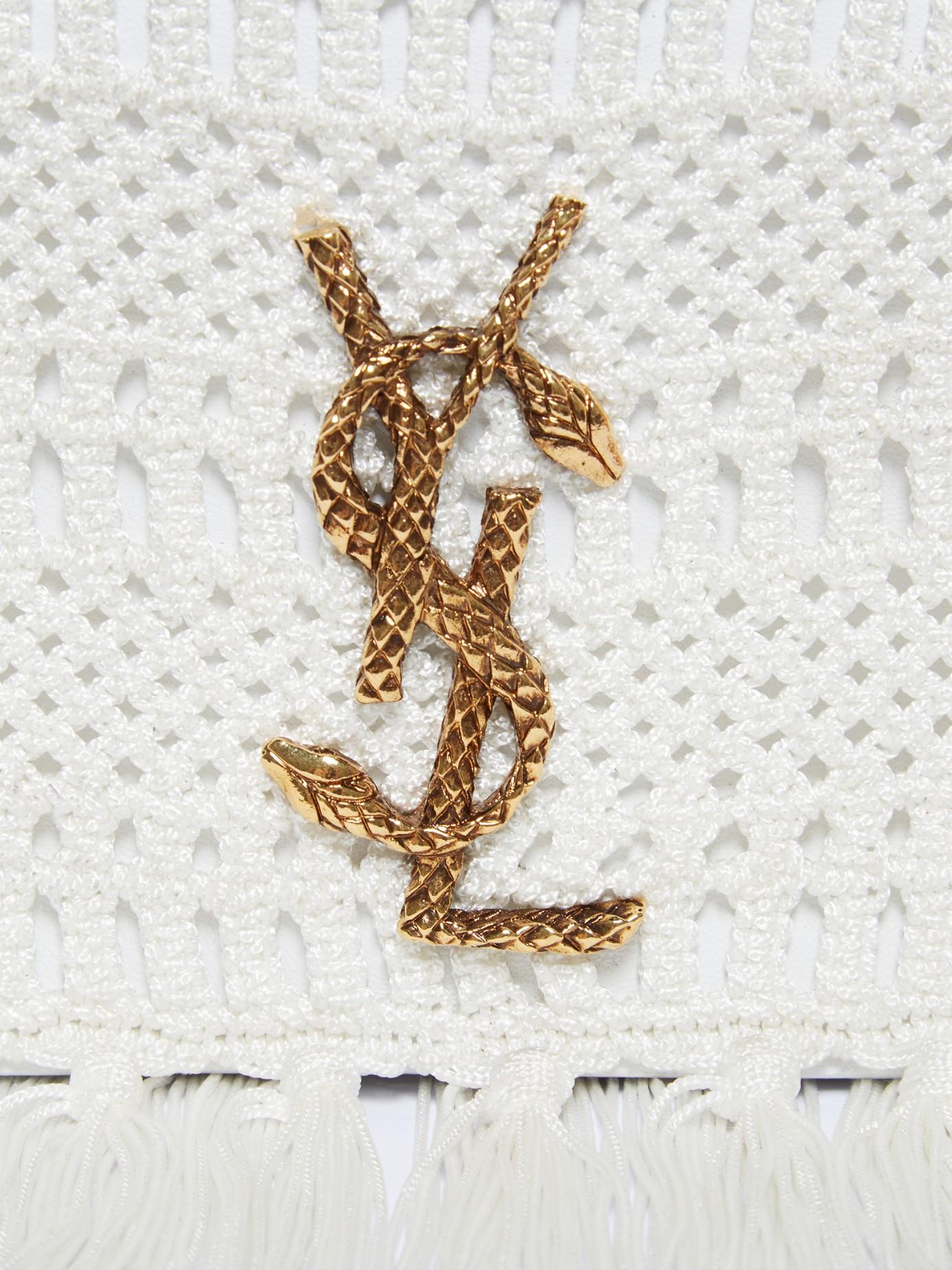 Lyst - Saint Laurent Monogram Serpent-logo Crochet Clutch in White 49daca5eb337c