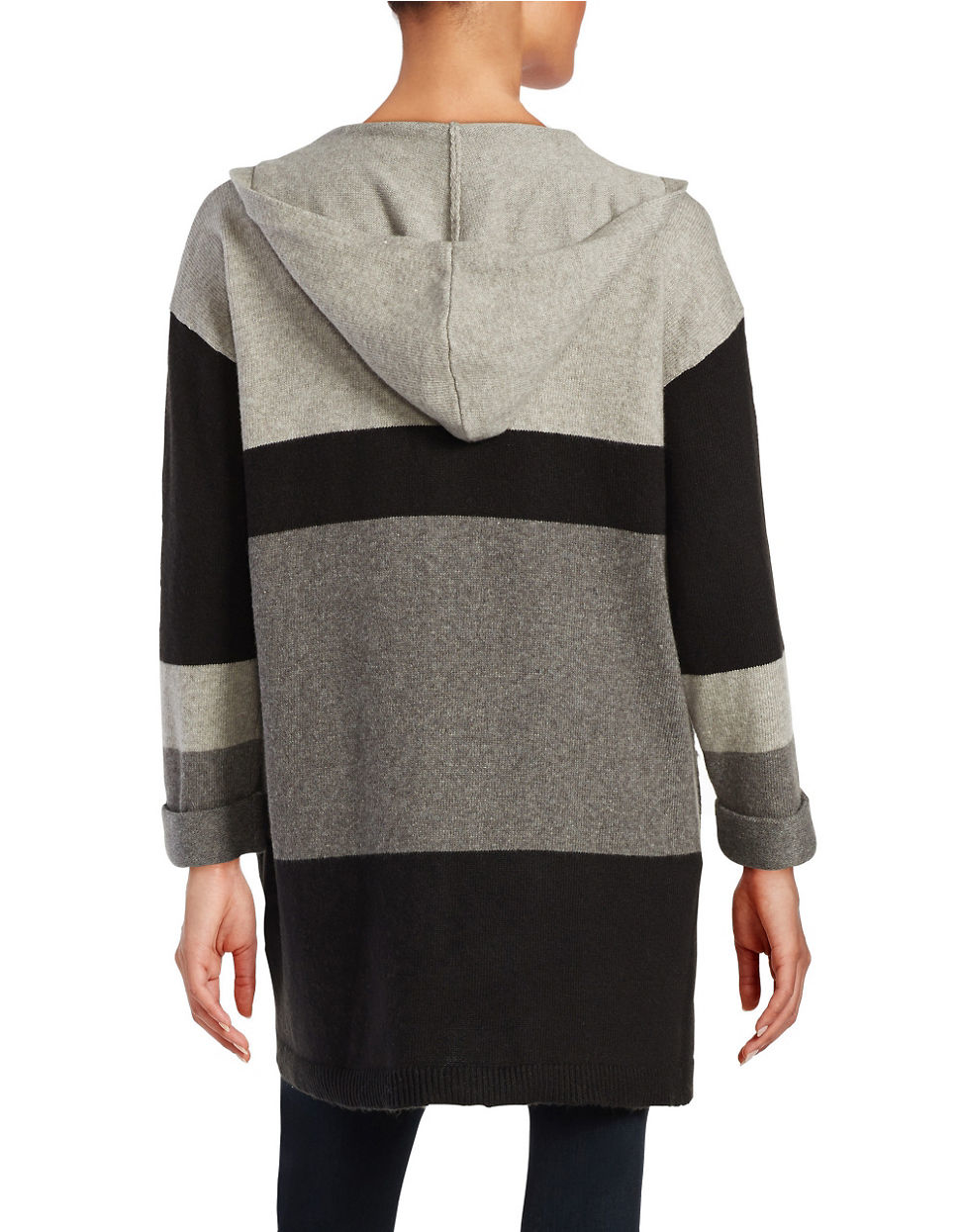 Vince camuto Petite Hooded Colorblocked Sweater in Black | Lyst
