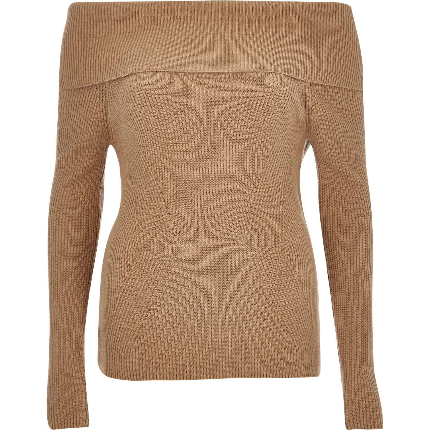 15c0eec06ac River Island Beige Bardot Long Sleeve Jumper in Natural - Lyst