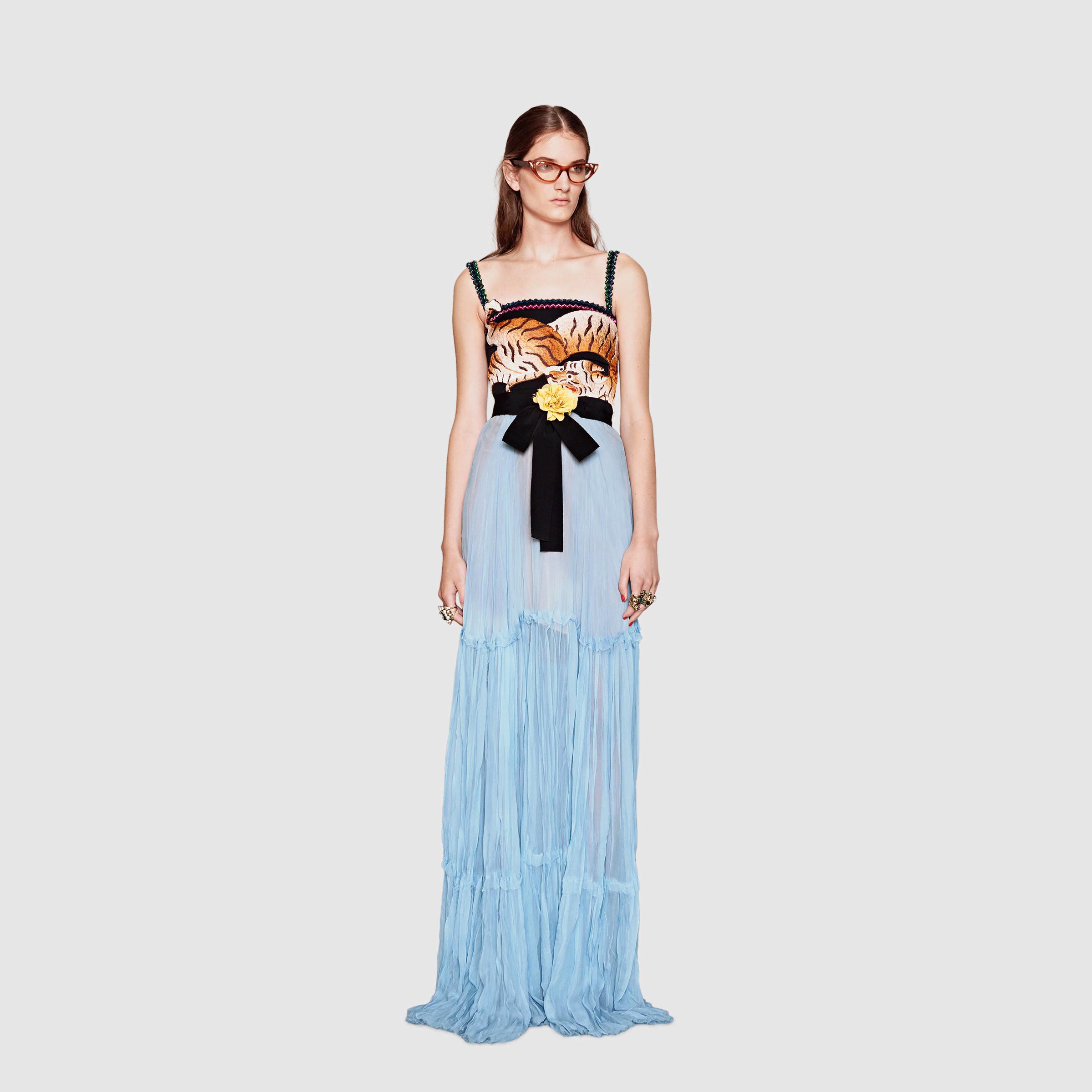 Lyst - Gucci Silk Chiffon Gown in Blue