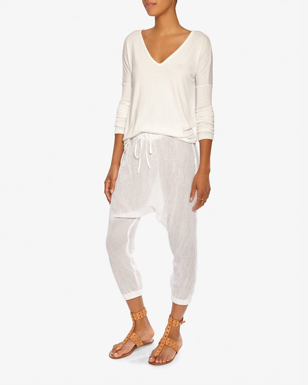 fe28e260d5b Lyst - Miguelina Avery Cotton Gauze Harem Pant in White