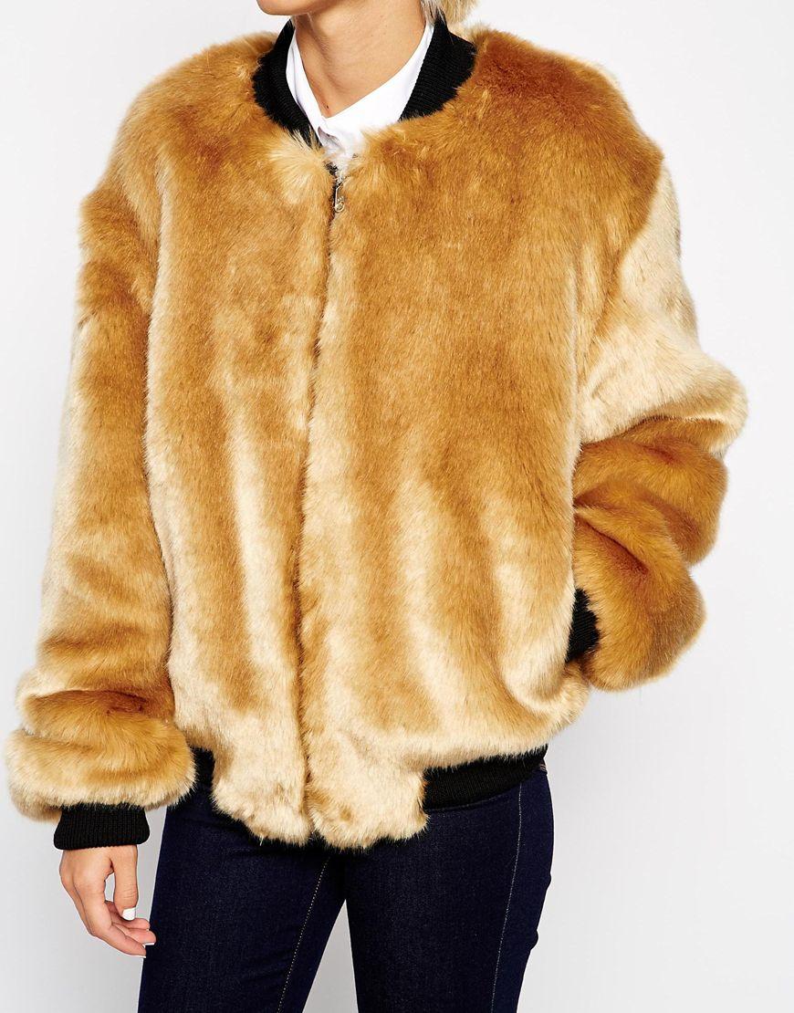 Lyst Asos Faux Fur Bomber Jacket In Natural