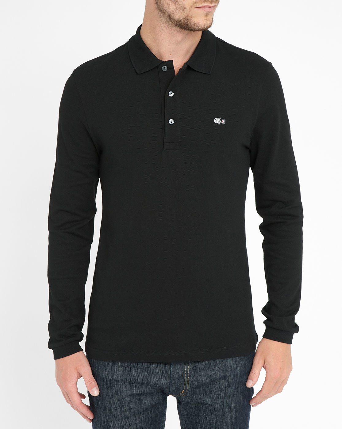 lacoste black elastane long sleeve slim fit polo shirt in. Black Bedroom Furniture Sets. Home Design Ideas