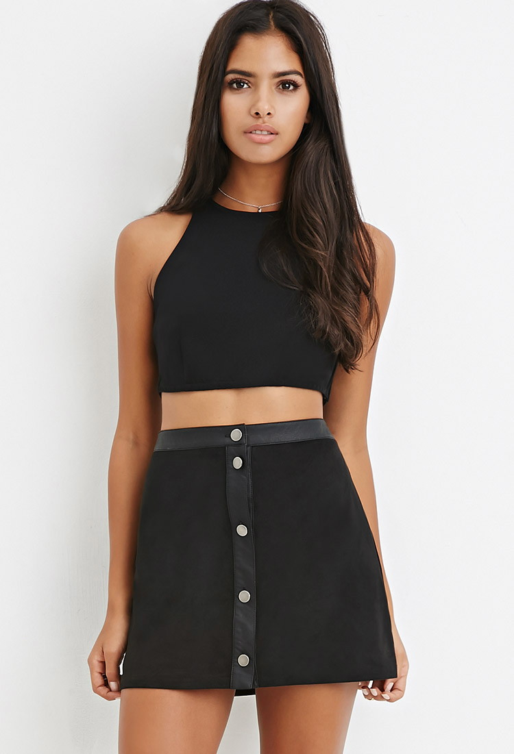 Forever 21 Button-front Faux Suede Skirt in Black | Lyst