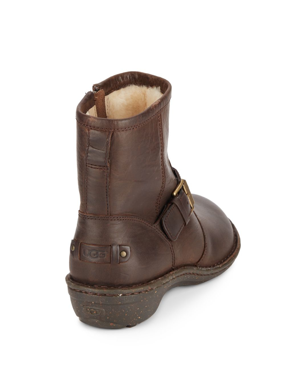 ugg bryce leather moto boots in brown lyst
