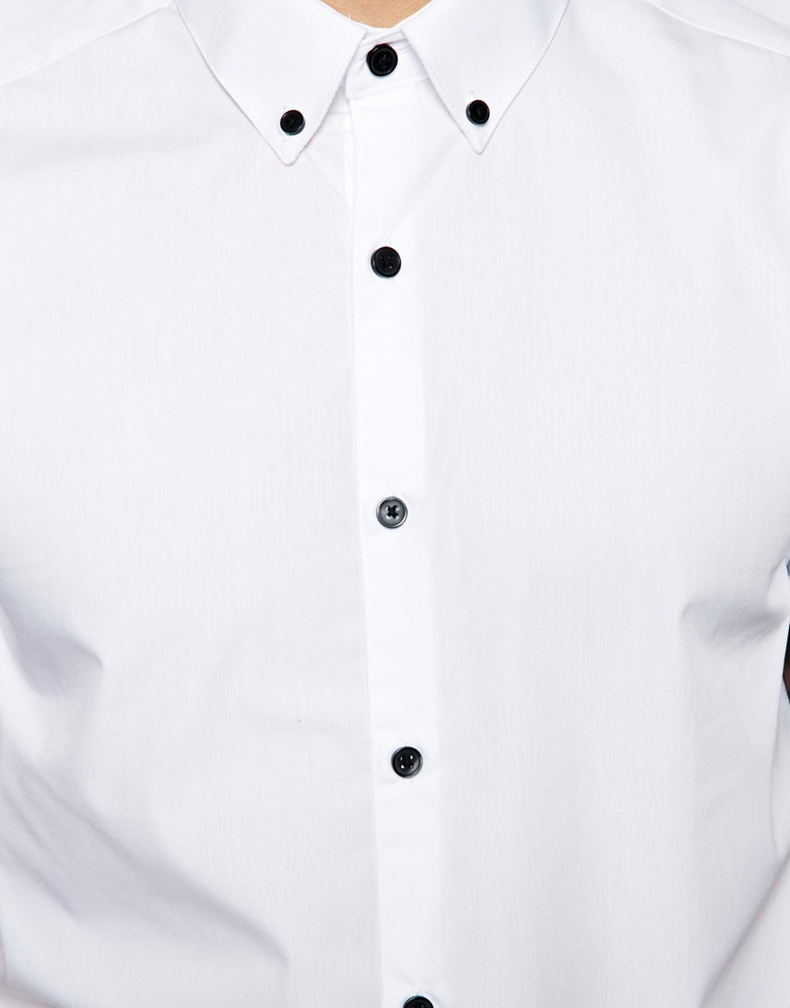 Asos Smart Shirt In Short Sleeve With Button Down Collar And ...