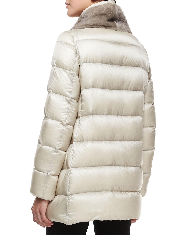 Lyst Moncler Argy Fur Trim Puffer Coat In White