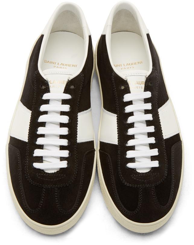 Saint Laurent Black Suede Court Classic Sneakers dTFJLbSX