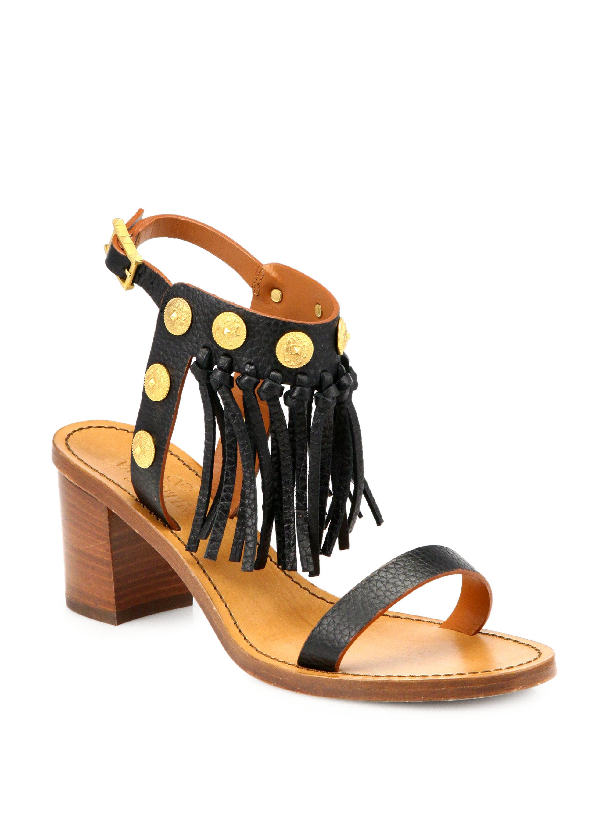 Lyst Valentino Studded Leather Fringe Sandals In Black